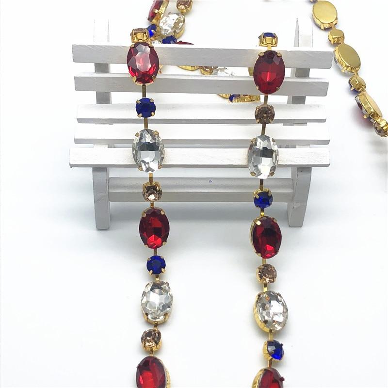 5 Yards/lot or métal plat dos coloré strass cristal garnitures coupe chaîne pour bricolage robe cheveux tiare sacs bijoux accessoires