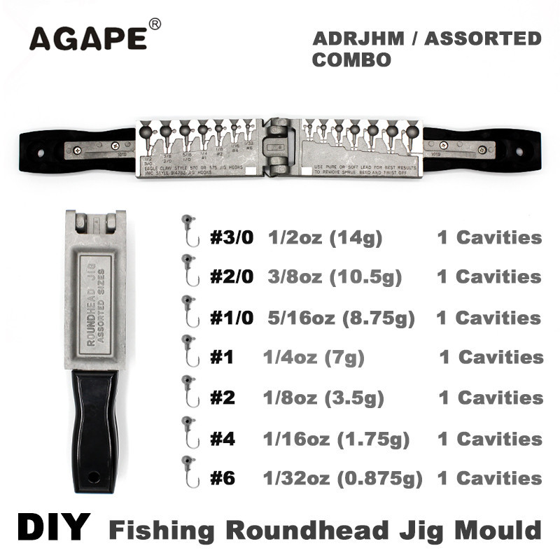 Agape DIY Fishing Roundhead Jig Mould ADRJHM ASSORTED COMBO 1 32oz 1 16oz 1 8oz 1