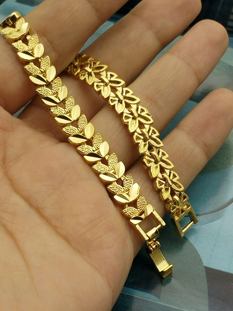 Romantic and Fashion Women Ladies Wedding Anniversary Jewelry Accessories 24K Gold Heart In Heart Chain Muslim Islam Bracelet