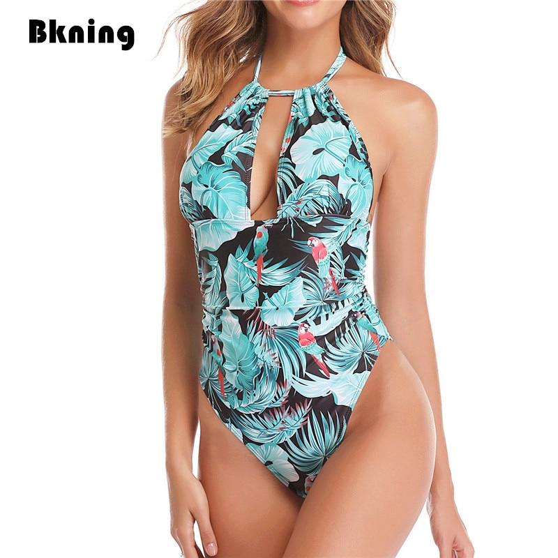5ef64255db98 Cuello alto de una sola pieza traje de baño Plus tamaño Badpak Mujer 2019  Tikini traje de baño de impresión Halter agujero sin respaldo traje ...