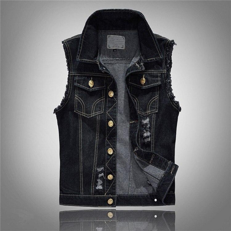 Grande taille 6XL Chubby hommes Denim gilets hommes sans manches vestes Jeans mâle Vintage décontracté Slim Fit Gilet noir Gilet