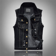 Plus Size 6XL Chubby Men Denim Vests Men's Sleeveless Jackets Jeans Male Vintage Casual Slim Fit Vest Black Waistcoat Gilet(China)