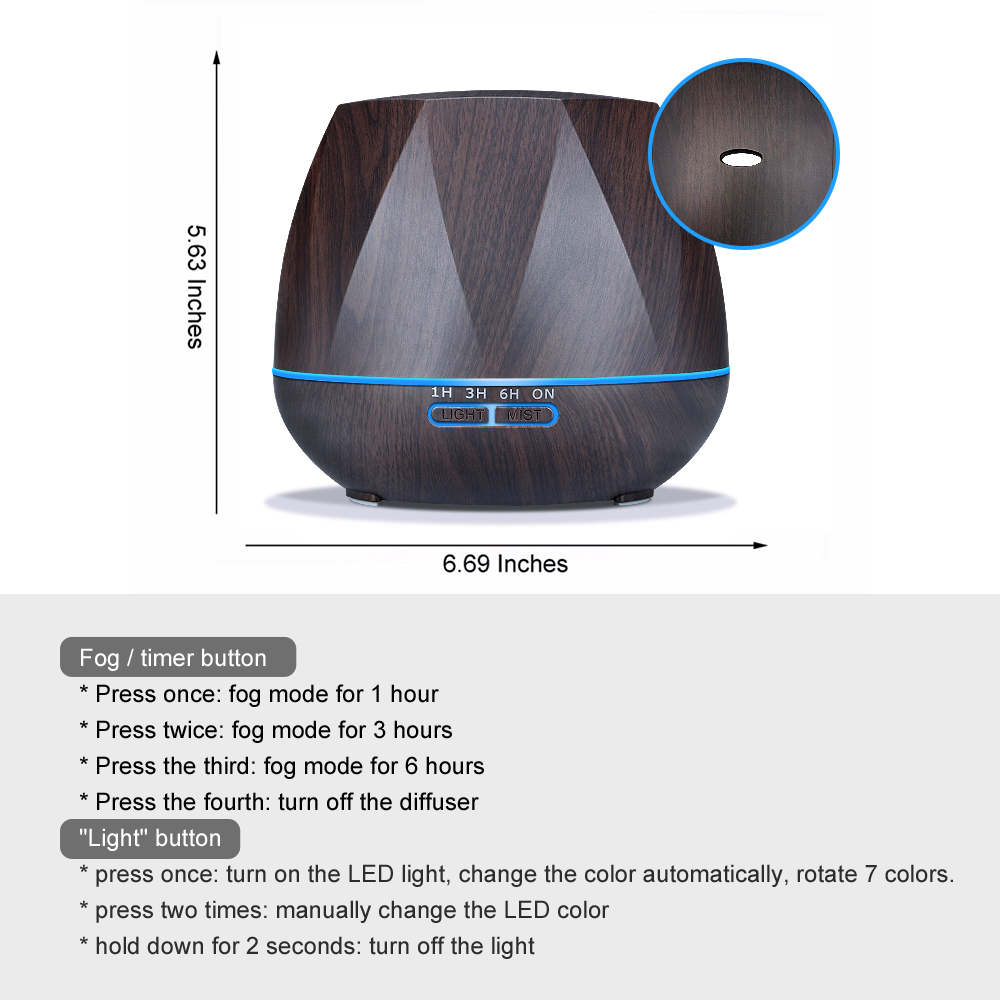Diffuserlove 500ML Air HumidifierRemote Control Essential Oil Diffuser Humidificador  Mist Maker LED Aroma Diffusor Aromatherapy