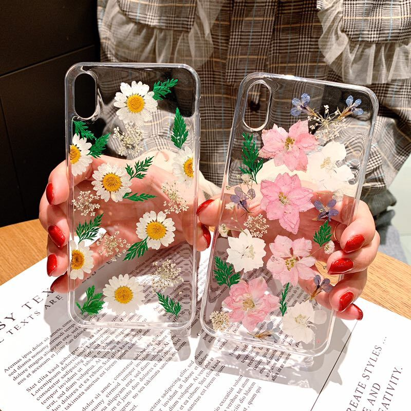 Real Dried Flowers Case For iphone X XR XS Max Soft TPU Silicone Transparent for iphone 8 7 6 6s plus cover