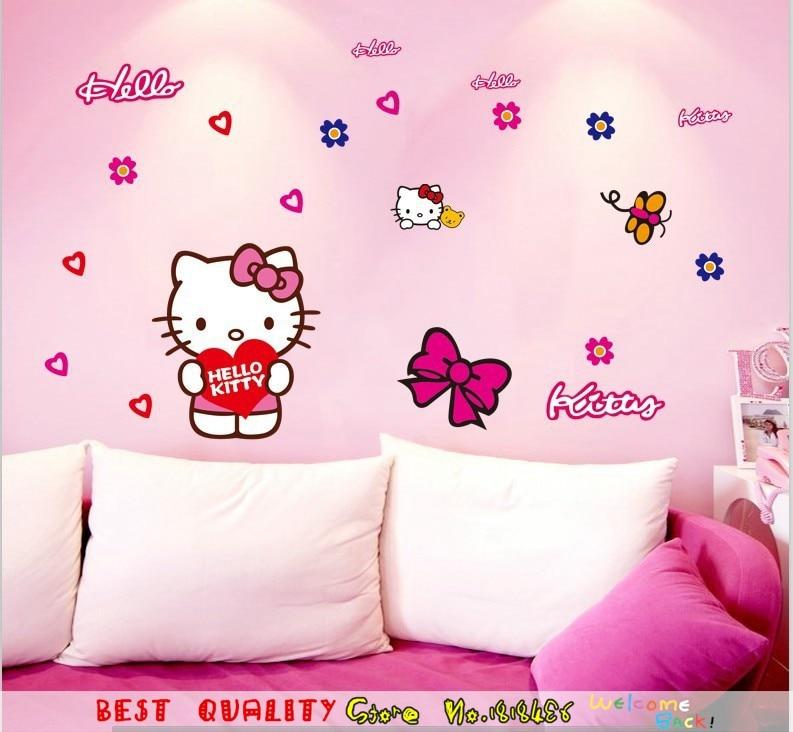 Lucu Pink Putih Hello Kitty Cat Stiker Dinding Diy Dinding