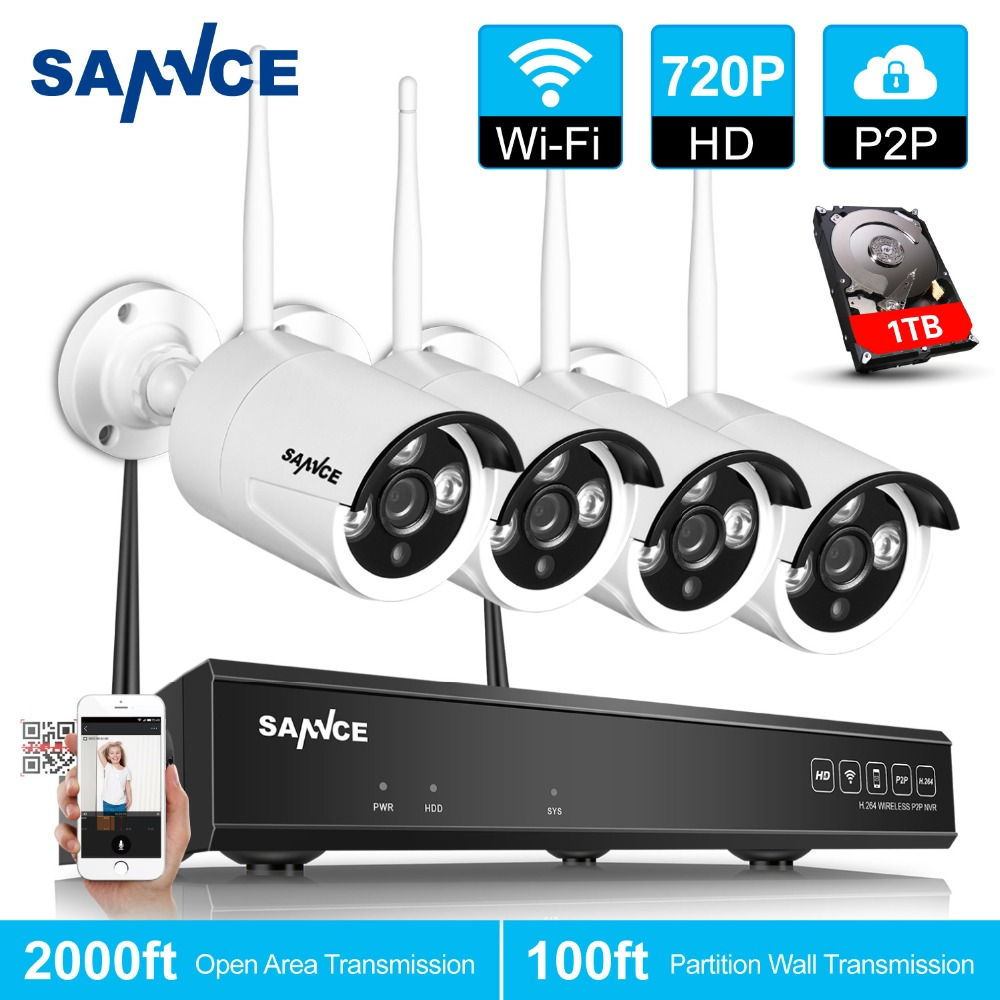 Sannce 4ch Wireless 720p Cctv System 1280tvl Hd P2p Onvif Nvr Kit Red Blouse Sj0015 Waterproof Wifi Ip Camera Network Surveillance 1tb Hdd