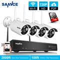 Sannce 4ch kit de la cámara 720 p hd p2p onvif 1.0mp wireless matriz NVR WIFI IP Cámara Al Aire Libre IP66 Impermeable Red NVR Sistema CCTV
