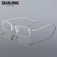 Fashion Eyewear Unisex Glasses Frame Concise Design Rimless Eyeglasses Men Women Name Brand Glasses Spectacles Optical Goggles