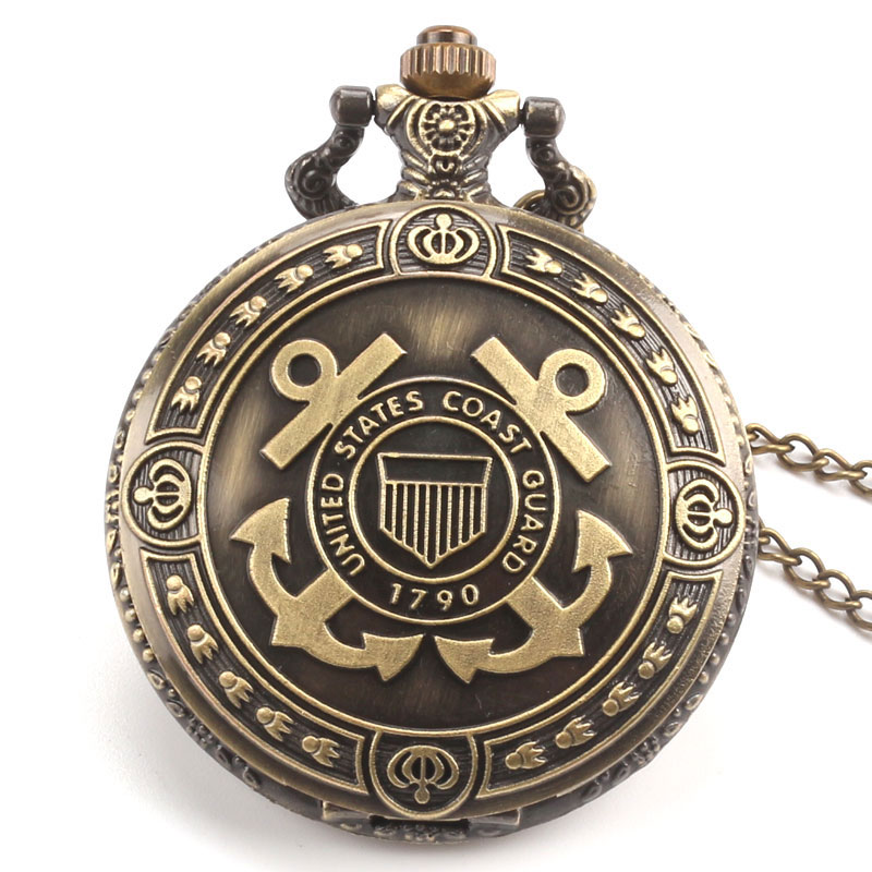 1790 United States Coast Guard Theme Bronze Quartz Pocket Watch With Necklace Chain Free Drop Shipping