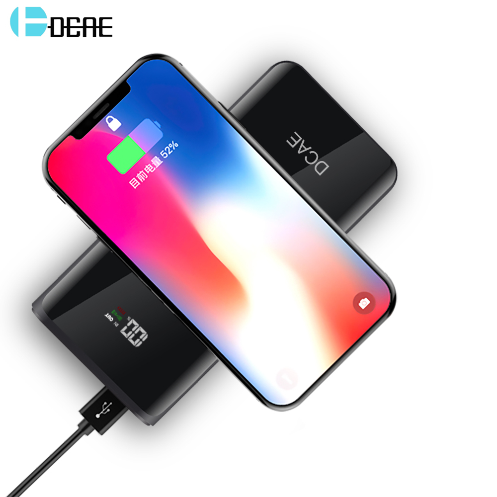 DCAE QI Wireless Charging Power Bank 20000mAh For iPhone X 8 Samsung S9 S8 S7 S6 Mobile Phone Powerbank Battery Wireless Charger