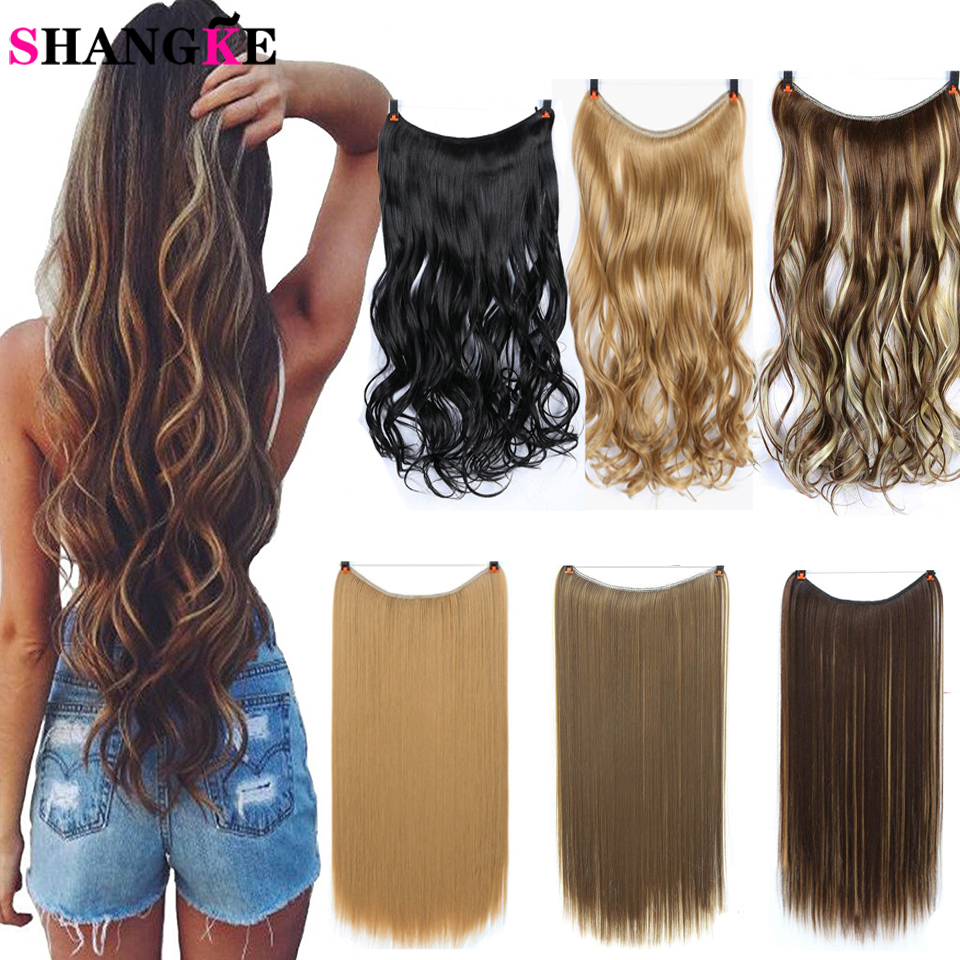 SHANGKE  22'' Invisible Wire No Clips In Secret Fish Line Hairpieces Straight Real Natural Synthetic Hair Extensions