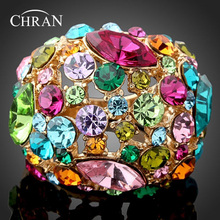 Chran Brand Ladies Accessories Faux Pearl Flower Rings Jewelry Fashion Gold Color Sparkling Crystal Finger for Women