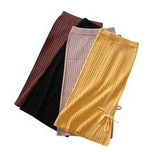 Fashion Side Split Knit Skirt New Casual Solid Straight Mid-calf Sexy Slim Waist Knitting Cotton Elegance Bow knot Skirts