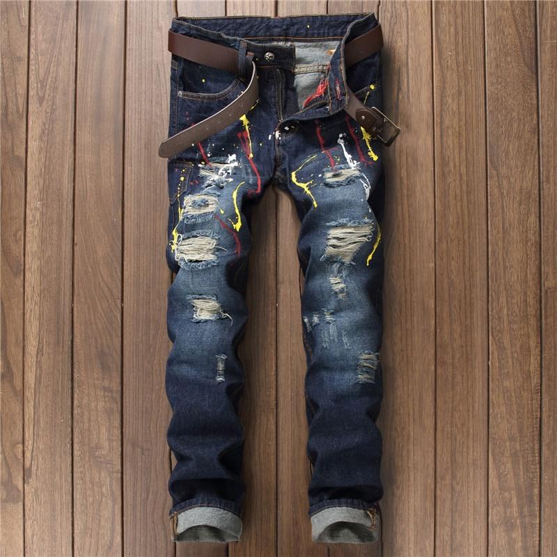 Fsahion rock graffiti streetwear painted blue denim pants men patchwork hole ripped jeans deistressed slim straight youth jeans