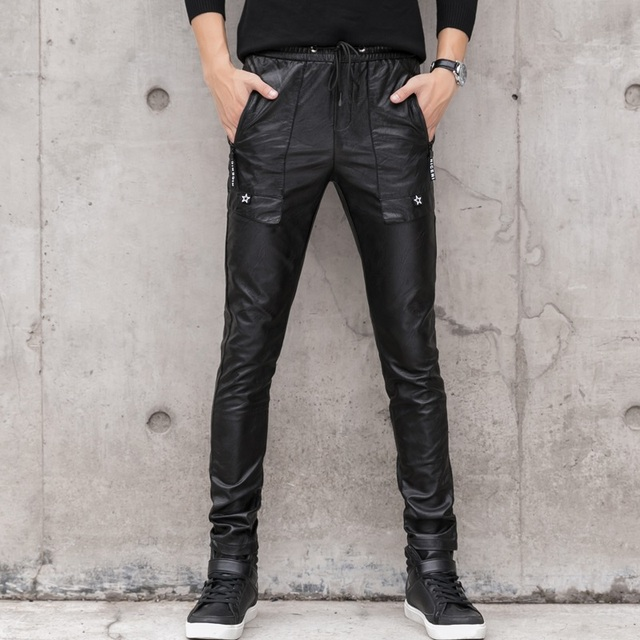 Black Faux Leather Pants Men Stretch Skinny Leather Trousers Male