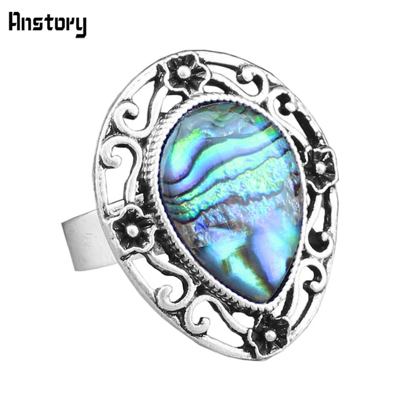Fashion Jewelry Antique Silver Plated Flower Plant Drop Shell Bead Adjustable Rings TR333