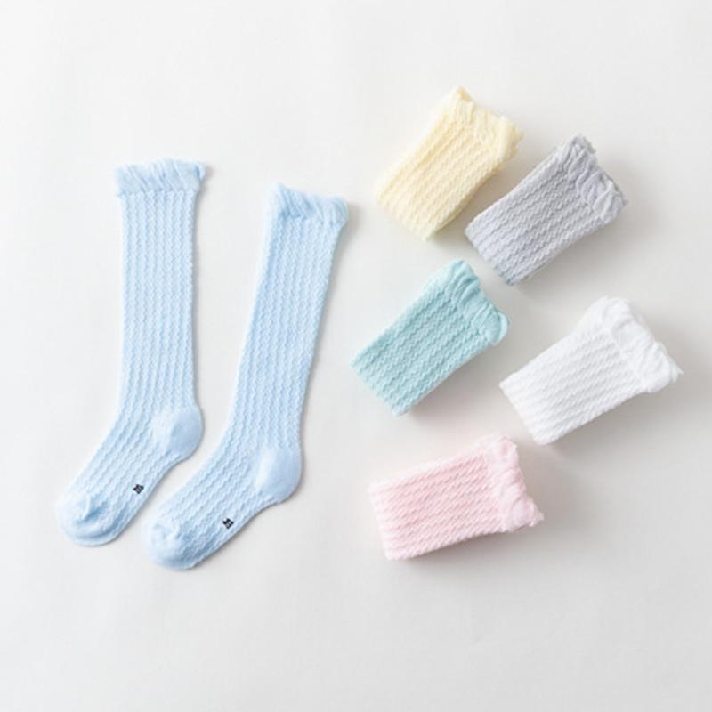 1Pair Baby Girl Socks 0 36 months Toddler Baby Cotton Mesh Breathable Socks Newborn Infant knee high Baby Girls Socks in Socks from Mother Kids