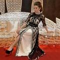 Moda preto branco vestido de noite longo com fenda 2017 alta neck meia manga lace mulheres formal pageant vestido vestidos de festa