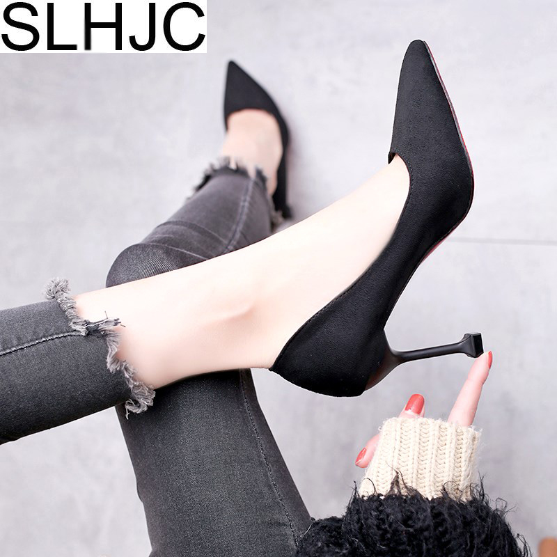 SLHJC 2018 Spring Summer Pumps Shoes Women High Heels Pointed Toe Thin Heel Party Office Wedding Shoes 9 CM Heel Fashion Sexy brand shoes woman spring summer rainbow women pumps high heels fashion sexy slip on pointed toe thin heel party wedding shoes