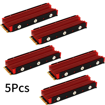 5PCS Red Cool Warship for NVME for NGFF M.2 Heatsink Aluminum Sheet Thermal Conductivity Silicon Wafer Cooling Heatsink 2280