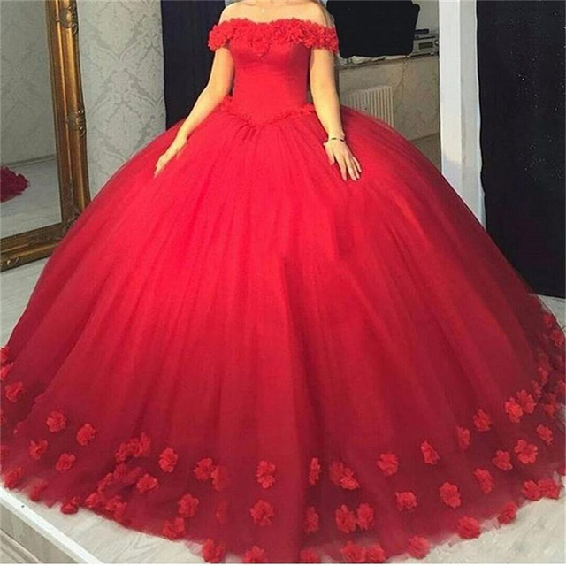 Red Quinceanera Dresses 3D Flowers Tulle Dresses 15 Year Old Debutante Off The Shoulder Masquerade Ball Gown Vestidos De 15 Anos