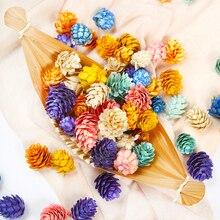 20 pçs/lote novo colorido natural pinho cone artificial flor para o casamento decoração de natal grinalda artesanal presente scrapbooking