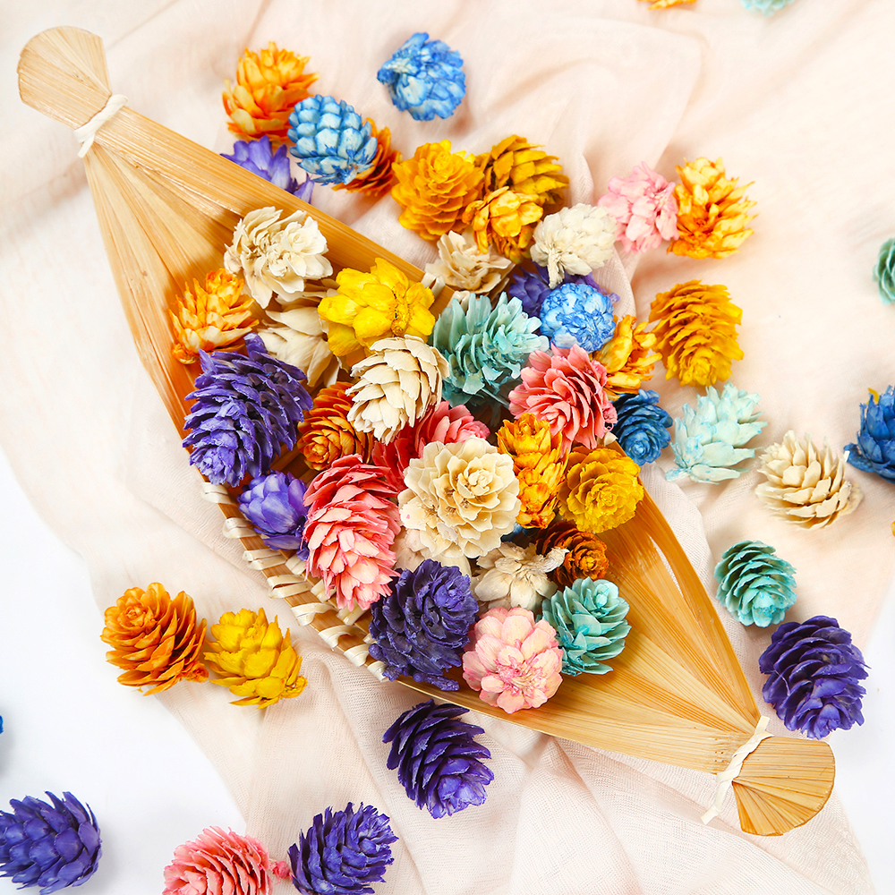 20Pcs/lot New Colorful Natural Pine Cone Artificial Flower For Wedding Christmas Decoration Handmade Wreath Gift Scrapbooking