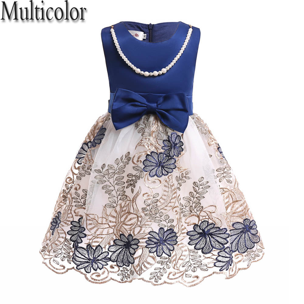Multicolor Summer Flower Princess Dress for Girls Tulle Dresses Birthday Party Wedding Dress Kids Clothes for Children Clothing iyeal kids dresses for girls clothes purple flower princess dress 2017 girls summer dress children clothing vestido princesa