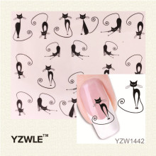 YZWLE Loveliness Cat Water Transfer Nail Stickers Gel Beauty Decal Makeup temptation Cartoon Cat Sweetheart Animation