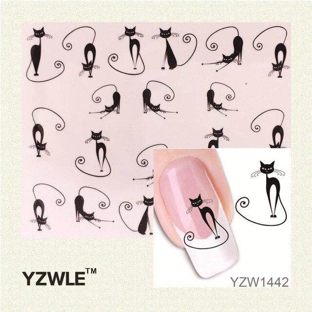 YZWLE Loveliness Cat Water Transfer Nail Stickers Gel Beauty Decal Makeup temptation Cartoon Cat Sweetheart Animation