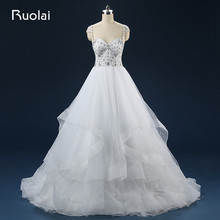 Real Photo Sweetheart Cap Sleeves Open Back Ball Gown Sparkling Crystal Wedding Dresses 2017 Tiered Tulle Bridal Gown FW77