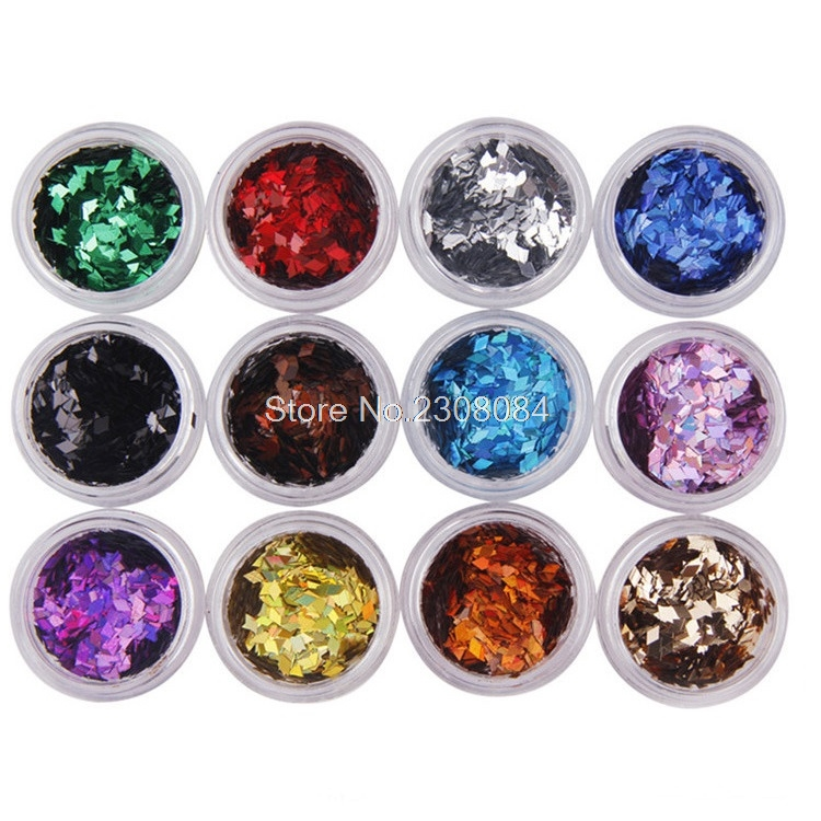 4d88411953 Divat Nail Art 12 szín 2mm * 3mm gyémánt alakú holografikus színes ...