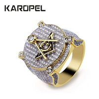 Karopel Hip hop CZ letter A G Rings Cubic Zirconia Gold Jewelry Luxury Hip Hop Accessories Bling Ice Out Men Ring