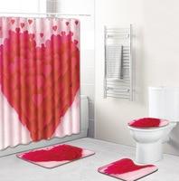 Korean style romantic love shower curtain set polyester waterproof shower curtain 180x180cm with bathroom mat 4pcs/set bath mat