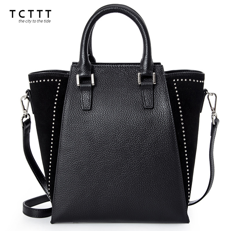 TCTTT High Quality women shoulder bags Bucket Retro genuine leather crossbody Handbags Totes Rivet designer Bag Bolsas Feminina 2017 new women shoulder bags solid pu leather handbags ladies brand designer bucket handbag purse bolsas feminina casual totes