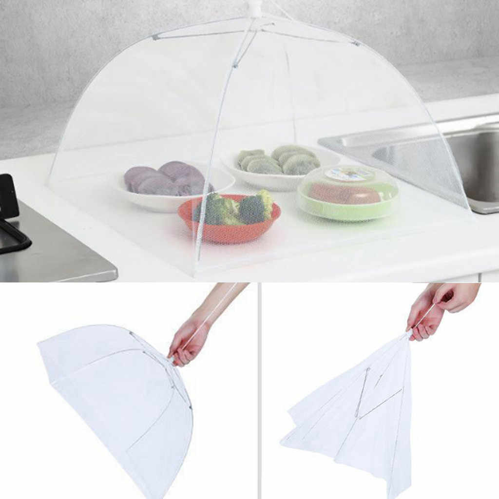 2PCS Large Pop Up Mesh Screen Protect Food Cover Tent Dome Net Collapsible Portable Picnic Food BBQ Plate Umbrella Protector