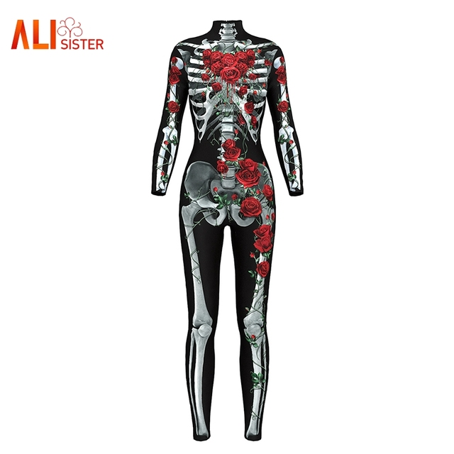 c172317ed532 2019 New Halloween Cosplay Suit Women Sexy Bodysuit 3D Skull Rose Print  Skeleton Jumpsuits One Piece Body Suits Dropship