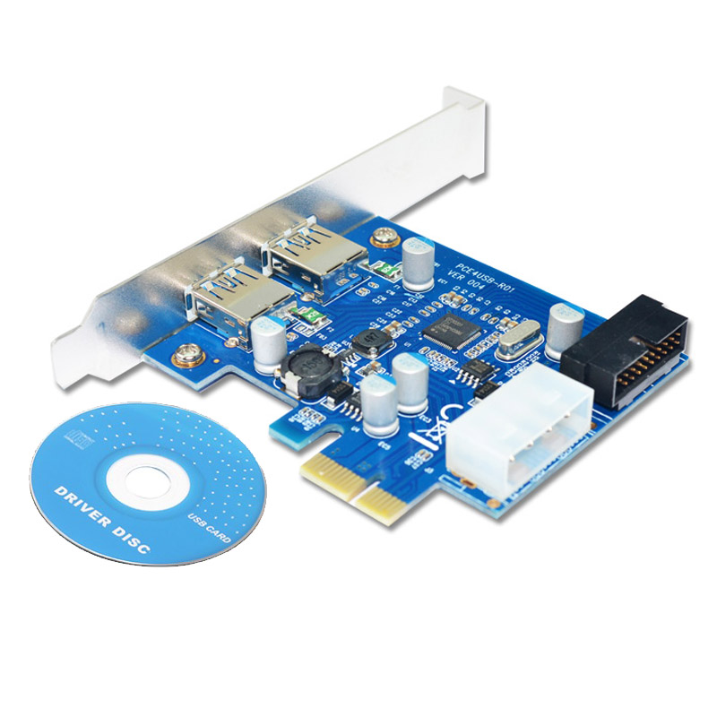 Купить с кэшбэком En-Labs 4 Port PCIE PCI-e to USB 3.0 (2 x Type A+ 20 Pin Internal) Expansion Card Hub PCI Express Card Adapter w/ Molex Power