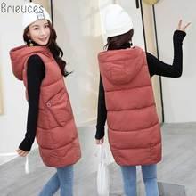 Br Fashion Women Vests Waistcoat 2018 Autumn Winter Mid-long Down Cotton Padded Vest Female Sleeveless Jackets Hooded Coat цена 2017