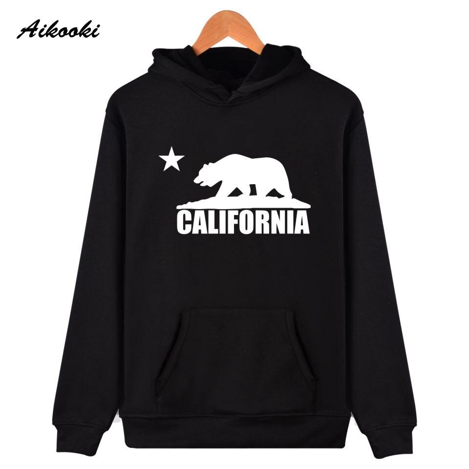 Californie Drapeau Ours de Bande Dessinée Coton Capuchon Sweat À Capuche Automne Hiver Hoodies Hommes/Femmes Sweat Casual Vêtements De Mode Pop