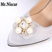 Mr Niscar 1 Pair Bridal Wedding Shoe Decorations Metal Welding Alloy Shoes Buckle Pearl Shoe Accessories