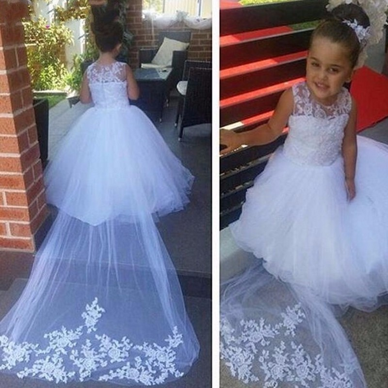 New Flower Girl Dresses for Wedding White/Ivory Little Girls Kids/Child Dress Princess Party Pageant First Communion Dress