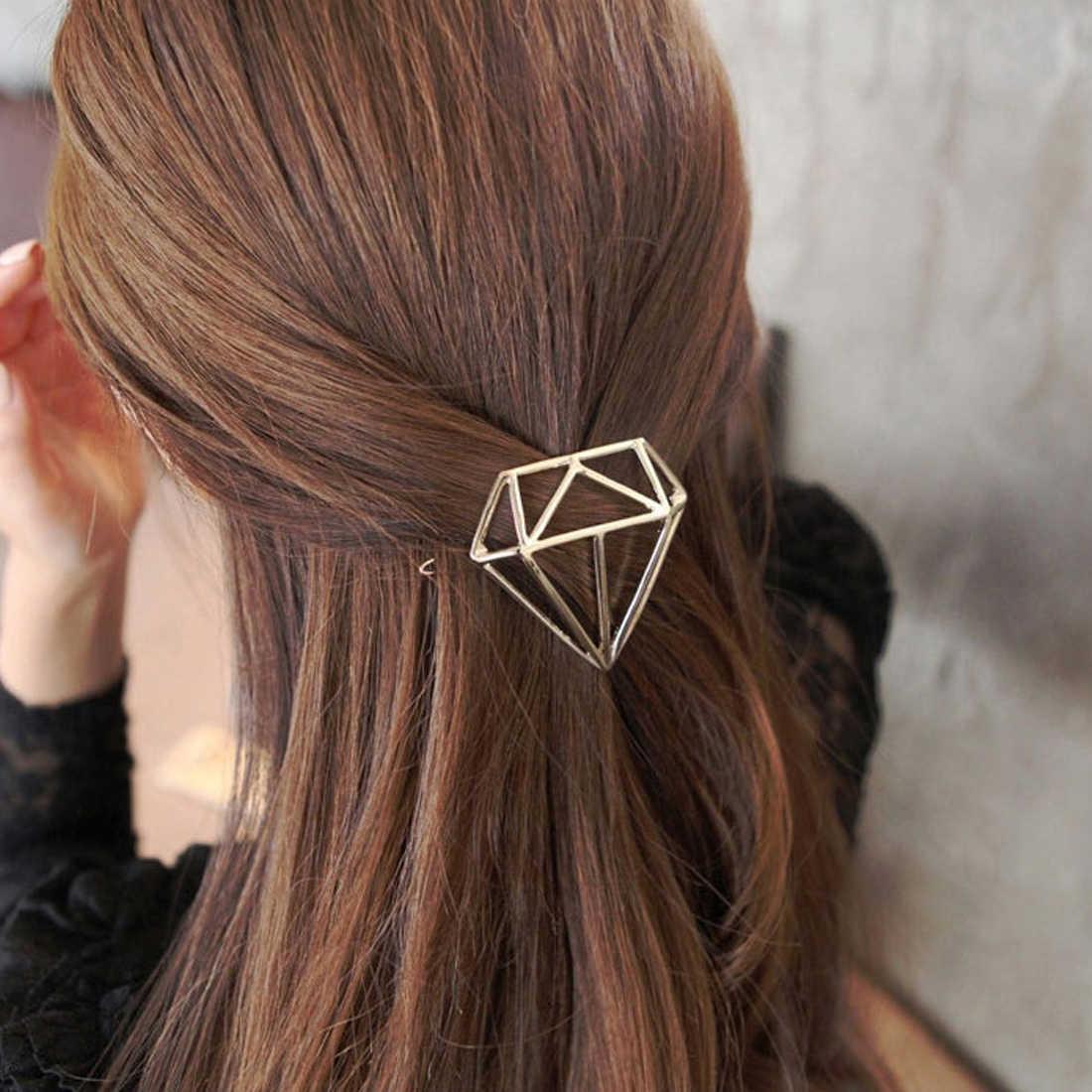 Diamante princesa Metal horquillas geométricas Rana hebilla Clip para el pelo hueco oro plata accesorios para el pelo para la cabeza fiesta mujeres niñas