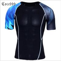 Muscle Men Compression Tight Skin Shirt Short Sleeves 3D Prints Rashguard Fitness Base Layer Weight Lifting