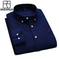 2016 New Design Business Formal Dress Shirts Spring Men Fashion Pure Color Long Sleeve Cotton Social