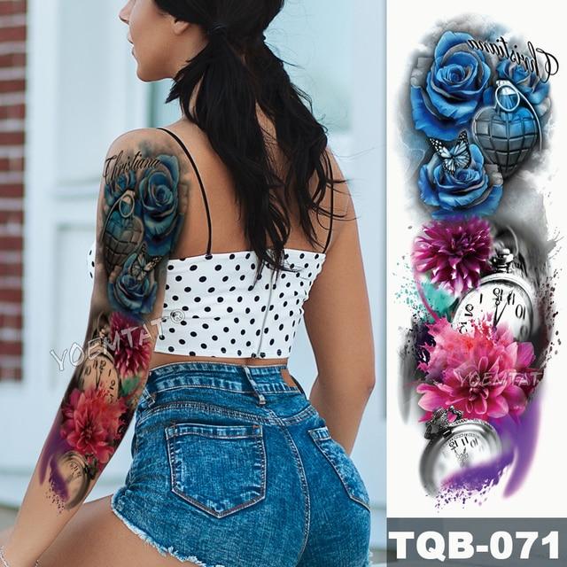 Gran manga de tatuaje para brazo Leopardo de medianoche belleza chica impermeable tatuaje temporal pegatina Luz de luna Rosa Full Skull tatuo mujeres 4