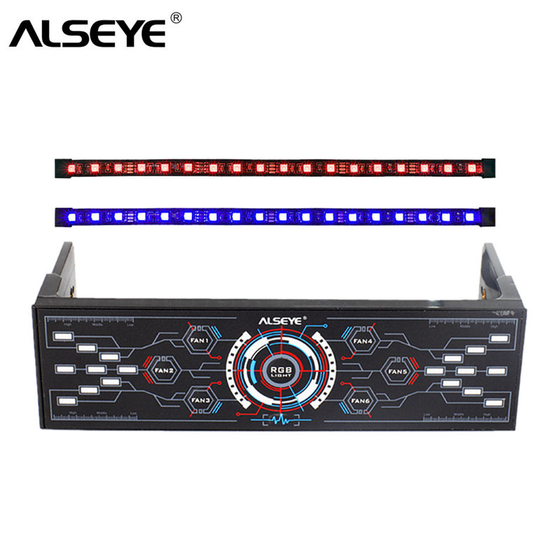 ALSEYE PC Fan Controller 6 Channels 12V Cooling Fan Speed and RGB Controller with Dual Magnetic RGB LED Strips Case Light