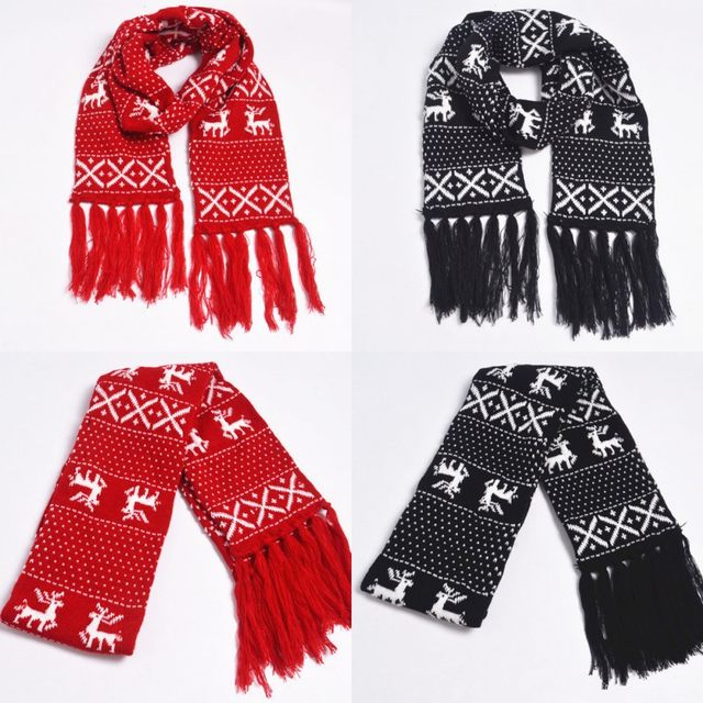 Online Shop Reindeer Christmas Scarf For Couple Lovers Black Red X