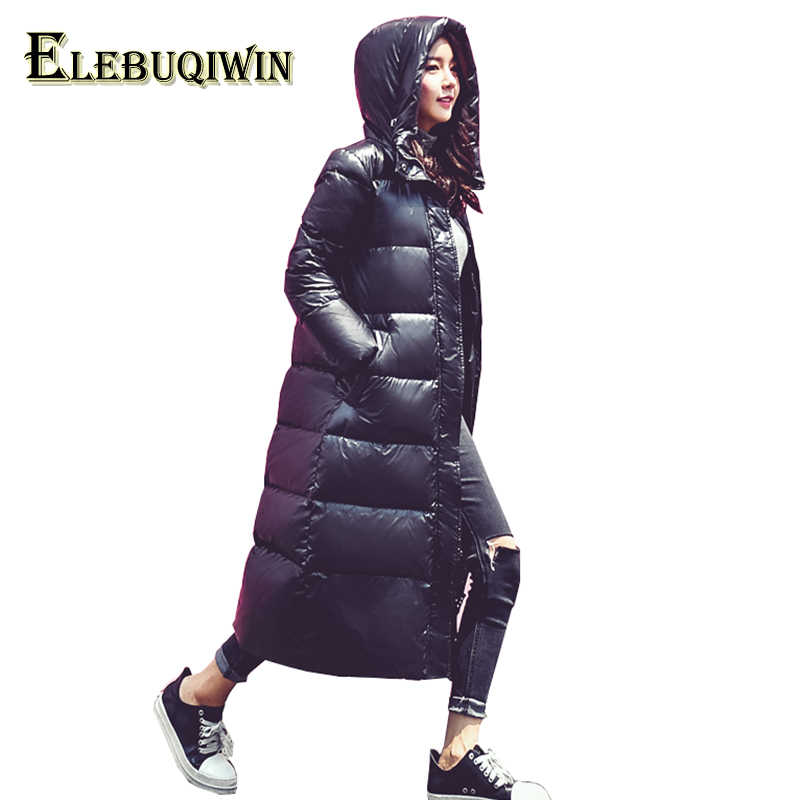 ea0c9553898 Extra Long Winter Down Jacket Women Parka 2018 New Hooded Thick Warm  Outerwear Loose Plus Size