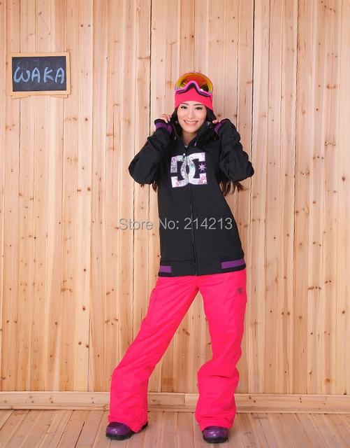 03ba0a223c Free shipping woman black softshell snowboard sets skiing jacket pants  winter sport outwear
